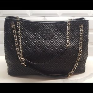 EUC Tory Burch Marion Diamond Quilted Tote Bag